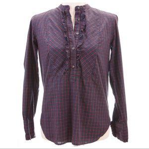 J.CREW Plaid Ruffle Detail Button Shirt
